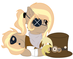 Size: 1431x1169 | Tagged: artist:celestial-rue0w0, artist:dinkydoolove, bandana, base used, clothes, commission, earth pony, eyepatch, female, hat, heart eyes, lying down, mare, oc, oc:debonair, oc only, pony, ponytail, safe, shirt, simple background, solo, top hat, transparent background, vest, wingding eyes