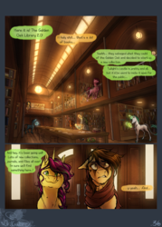 Size: 1500x2100 | Tagged: artist:bootsdotexe, book, braid, comic, comic:beyond our borders, earth pony, female, head wings, leonine tail, library, magic, magic aura, mare, oc, oc:featherfall, oc only, oc:ruby cube, pegasus, plant, pony, safe, smiling, telekinesis, unicorn, wings