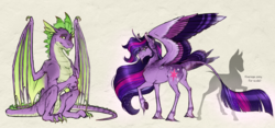 Size: 3300x1550 | Tagged: adult, adult spike, alicorn, alternate design, artist:bootsdotexe, colored claws, dragon, ethereal mane, female, glasses, leonine tail, male, mare, older, older spike, older twilight, pony, raised hoof, safe, size comparison, spike, spoiler:s09e26, tan background, the last problem, twilight sparkle, twilight sparkle (alicorn), ultimate twilight, unshorn fetlocks, winged spike