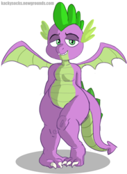 Size: 4600x6270 | Tagged: safe, artist:kackysocks, spike, dragon, bedroom eyes, claws, colored, curvy, hands behind back, male, plump, simple background, transparent background, winged spike, wings
