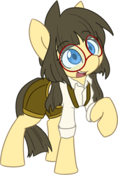 Size: 734x1089   Tagged: safe, alternate version, artist:spheedc, oc, oc:sphee, earth pony, pony, 2020 community collab, derpibooru community collaboration, clothes, digital art, female, filly, glasses, mare, pigtails, simple background, solo, suspenders, transparent background