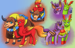 Size: 2500x1600 | Tagged: safe, artist:azurllinate, bat pony, changeling, classical hippogriff, hippogriff, pony, yak, accessories, alternate universe, annoyed, backpack, banjo kazooie, banjo the bear, banjooie, blue eyes, blushing, changelified, embarrassed, female, green eyes, hippogriffied, interspecies, interspecies love, jewelry, kazooie, large ears, laylee, leaning, looking at each other, looking away, male, necklace, pointing, ponified, puffy cheeks, raised hoof, riding on back, shipping, smiling, species swap, tonic, two toned mane, two toned tail, two toned wings, video game, wings, yakified, yooka, yooka-laylee, yoolee