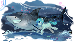 Size: 7000x4000 | Tagged: safe, artist:fly-gray, oc, oc only, pony, shark, cute, swimming