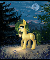 Size: 5000x6000 | Tagged: artist:fly-gray, lantern, moon, night, oc, oc only, safe, solo