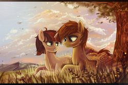 Size: 2000x1333 | Tagged: artist:fly-gray, couple, cute, mountain, oc, oc only, pegasus, safe, scenery, shipping, tree, unicorn
