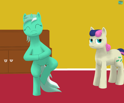Size: 600x500 | Tagged: artist:quint-t-w, bon bon, bon bon is not amused, dexterous hooves, earth pony, lyra heartstrings, meditating, old art, pony, pose, safe, standing, standing on one leg, sweetie drops, unamused, unicorn