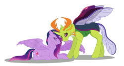 Size: 1280x688 | Tagged: safe, artist:dawn-inspiration, thorax, twilight sparkle, alicorn, changedling, changeling, pony, crack shipping, female, king thorax, male, nuzzling, one eye closed, preglight sparkle, pregnant, prone, shipping, simple background, spread wings, straight, transparent background, twilight sparkle (alicorn), twirax, wings