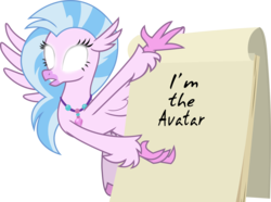 Size: 4527x3361 | Tagged: artist:frownfactory, avatar state, avatar the last airbender, classical hippogriff, edit, exploitable, female, flipchart, glowing eyes, gru's plan, hippogriff, jewelry, necklace, safe, silverstream, simple background, solo, spoiler:s09e03, text, transparent background, uprooted, vector, vector edit, wings