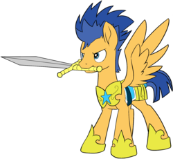 Size: 1254x1155 | Tagged: armor, artist:icey-wicey-1517, artist:nightpaint12, collaboration, colored, color edit, edit, flash sentry, hoof shoes, male, mouth hold, pegasus, pony, safe, simple background, solo, stallion, sword, transparent background, weapon