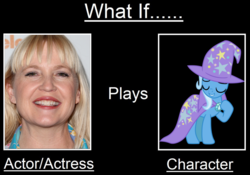 Size: 1024x718 | Tagged: artist:mega-poneo, cape, carolyn lawrence, clothes, female, hat, human, irl, irl human, mare, meme, photo, pony, safe, trixie, trixie's cape, trixie's hat, unicorn, vector