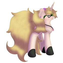 Size: 2500x2500 | Tagged: 2020 community collab, artist:embroidered equations, black hooves, blonde, blonde mane, cream coat, derpibooru community collaboration, glasses, green eyes, jewelry, necklace, oc, oc:embroidered equations, pony, safe, solo, unicorn