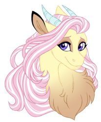 Size: 1024x1238 | Tagged: artist:azure-art-wave, bust, chest fluff, female, hybrid, interspecies offspring, not fluttershy, oc, oc:freya, offspring, parent:discord, parent:fluttershy, parents:discoshy, portrait, safe, simple background, solo, transparent background