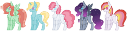 Size: 1280x310 | Tagged: artist:superponymon, base used, chest fluff, earth pony, ethereal mane, magical lesbian spawn, no mouth, no pupils, offspring, parent:big macintosh, parent:pinkie pie, parent:prince blueblood, parent:princess luna, parent:rainbow dash, parents:bluepie, parents:lunapie, parents:rainbowmac, parents:trixbreeze, parents:zephyrhugger, parent:tree hugger, parent:trixie, parent:zephyr breeze, pegasus, pony, safe, simple background, starry mane, transparent background, unicorn