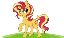 Size: 2400x1440 | Tagged: artist:warszak, cute, earth pony, female, mare, missing horn, pony, safe, shimmerbetes, simple background, solo, sunset shimmer