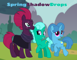 Size: 1336x1042 | Tagged: safe, artist:徐詩珮, fizzlepop berrytwist, glitter drops, spring rain, tempest shadow, unicorn, series:springshadowdrops diary, broken horn, clothes, cute, female, glitterbetes, glittershadow, horn, lesbian, polyamory, scarf, shipping, springbetes, springdrops, springshadow, springshadowdrops, tempestbetes, wallpaper