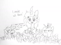 Size: 1832x1345 | Tagged: alicorn, artist:tjpones, breaking the fourth wall, bugmom, cadance is not amused, changeling, changeling queen, clothes, dialogue, female, guilty, i made this, implied infidelity, implied shining chrysalis, implied shipping, implied straight, male, mare, mommy chrissy, pony, princess cadance, queen chrysalis, safe, semi-anthro, shining armor, stallion, traditional art, unamused, unicorn