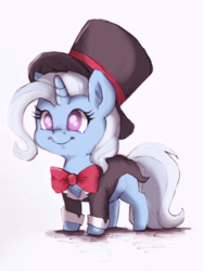 Size: 1079x1439 | Tagged: safe, artist:buttersprinkle, derpibooru exclusive, trixie, pony, unicorn, bowtie, chibi, colored sketch, cute, diatrixes, female, hat, magician outfit, no pupils, simple background, smiling, solo, tailcoat, top hat, traditional art