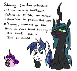 Size: 792x732 | Tagged: alicorn, artist:jargon scott, changeling, changeling queen, chibi, dialogue, fangs, female, frown, implied shining chrysalis, implied shipping, implied straight, lidded eyes, male, mare, nervous, open mouth, pony, princess cadance, queen chrysalis, safe, shining armor, simple background, slit eyes, smiling, stallion, sweat, text, unicorn, white background, wide eyes