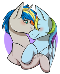 Size: 1556x1915 | Tagged: artist:carrscrap, canon x oc, cuddling, dopadash, eyes closed, female, kissing, male, mare, oc, oc:dopami korpela, pegasus, pony, rainbow dash, safe, shipping, simple background, stallion, straight, transparent background, unicorn