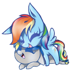 Size: 676x647 | Tagged: artist:kaywhitt, canon x oc, chibi, closed eye, dopadash, female, laughing, male, mare, oc, oc:dopami korpela, pegasus, prone, rainbow dash, safe, shipping, simple background, stallion, straight, transparent background, unicorn