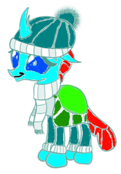 Size: 228x326 | Tagged: artist:sintakhra, changeling, clothes, colored, color edit, cute, diaocelles, edit, ocellus, safe, scarf, winter cap