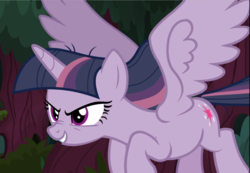 Size: 1353x938 | Tagged: cropped, evil grin, flying, grin, mean twilight sparkle, safe, screencap, smiling, solo, spread wings, the mean 6, wings