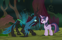 Size: 1334x871 | Tagged: changeling, cropped, crouching, duo, looking at each other, mean twilight sparkle, queen chrysalis, safe, screencap, staring contest, the mean 6