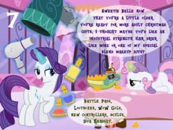 Size: 1024x768 | Tagged: advent calendar, artist:bronybyexception, bed, chips, doritos, food, fortnite, glowing horn, hair dryer, horn, joy boy, magic, oculus rift, overwatch, pony, rarity, safe, sweetie belle, telekinesis, unicorn, video game, warcraft, world of warcraft