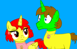 Size: 998x644 | Tagged: safe, artist:angrybeavers1997, oc, oc:raspberry flash, oc:ryan, alicorn, pony, alicorn oc, alita: battle angel, base used, bodysuit, brother and sister, catsuit, disapproval, female, hippie, jewelry, latex, latex suit, male, necklace, nervous, peace suit, peace symbol, rubber suit, siblings