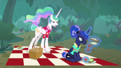 Size: 1920x1080 | Tagged: basket, between dark and dawn, food, forest, picnic basket, picnic blanket, princess celestia, princess luna, safe, sandwich, screencap, spoiler:s09e13