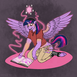 Size: 1500x1500 | Tagged: safe, artist:keetah-spacecat, twilight sparkle, alicorn, pony, book, commission, cutie mark, female, human to pony, kneeling, magic, mare, solo, transformation, transgender transformation, twilight sparkle (alicorn), unshorn fetlocks
