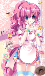 Size: 496x828 | Tagged: alternate hairstyle, anime, apron, artist:sakuranoruu, blushing, candy, clothes, cupcake, cute, dessert, diapinkes, donut, dress, female, food, human, humanized, lollipop, looking at you, :p, pinkie pie, ponytail, safe, socks, solo, striped socks, thigh highs, tongue out