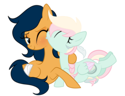 Size: 1398x1078 | Tagged: artist:moonraige, artist:peachesandcreamated, bandage, female, kissing, lesbian, oc, oc:farway, oc only, oc:river rose, oc x oc, pegasus, pony, prone, safe, shipping, simple background, transparent background