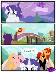 Size: 3500x4500 | Tagged: annoyed, artist:becauseimpink, braid, bridge, building, cloud, comic, comic:transition, elusive, hair over one eye, oc, oc only, on a cloud, pony, rarity, rule 63, running, safe, speech, transgender, unicorn