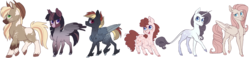 Size: 1853x431 | Tagged: safe, artist:guzzlord, applejack, fluttershy, pinkie pie, rainbow dash, rarity, twilight sparkle, alicorn, earth pony, pegasus, pony, unicorn, alternate design, blaze (coat marking), cloven hooves, cremello, dappled, feathered fetlocks, female, leonine tail, mane six, mare, natural fur color, palomino, piebald colouring, roan, simple background, socks (coat marking), transparent background, twilight sparkle (alicorn)