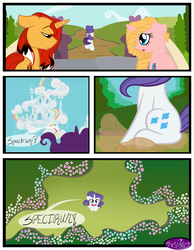Size: 3500x4500 | Tagged: safe, artist:becauseimpink, rarity, oc, pony, unicorn, comic:transition, braid, bridge, comic, dialogue, elusive, frown, looking down, looking up, male, rule 63, running, stallion, transgender, yelling