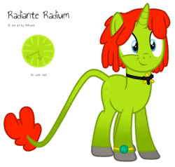 Size: 968x920 | Tagged: safe, artist:melisareb, oc, oc only, oc:radiante radium, object pony, original species, radioactive pony, unicorn, base used, cute, cutie mark, element pony, female, gradient legs, gradient tail, leonine tail, mare, ponified, radioactive, simple background, solo, watch, weapons-grade cute, white background