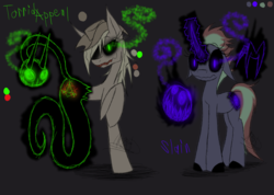 Size: 1385x985 | Tagged: amputee, applejack, artist:didun850, colored hooves, dark background, earth pony, female, glowing eyes, glowing horn, grin, hat, horn, mare, oc, oc:valkyr, pony, possessed, raised hoof, reference sheet, safe, shadow pony, smiling, sombra eyes, unicorn