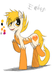 Size: 985x1385 | Tagged: artist:didun850, ear piercing, earring, earth pony, eye clipping through hair, female, jewelry, mare, oc, oc:ember, oc only, piercing, pony, raised hoof, reference sheet, safe, simple background, smiling, solo, transparent background