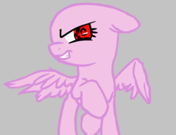 Size: 896x684 | Tagged: safe, artist:drtrebleclef, pegasus, pony, base, gray background, raised hoof, red eyes, simple background, smiling, smirk, solo
