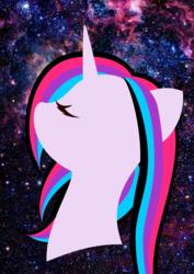Size: 744x1052 | Tagged: safe, artist:auroraswirls, oc, oc only, oc:nebula nova, pony, unicorn, bust, eyes closed, female, mare, space
