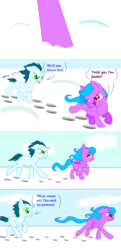 Size: 630x1300 | Tagged: alicorn, angry, artist:auroraswirls, colt, comic, comic:tainted hearts, female, filly, gritted teeth, hoof print, looking back, male, oc, oc only, pony, running, safe, snow, unicorn