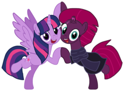 Size: 1326x968 | Tagged: safe, artist:徐詩珮, fizzlepop berrytwist, tempest shadow, twilight sparkle, alicorn, pony, unicorn, base used, broken horn, clothes, cute, female, horn, lesbian, scarf, shipping, simple background, tempestbetes, tempestlight, transparent background, twiabetes, twilight sparkle (alicorn)