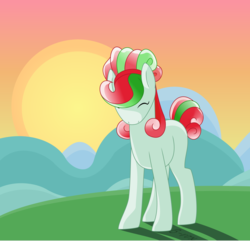 Size: 911x877 | Tagged: artist:babyroxasman, background, crystal pony, male, oc, oc:quizzlemint, pony, safe, shading, solo, stallion, sunrise, trap, vector