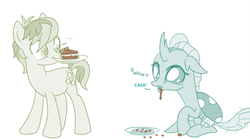 Size: 758x422 | Tagged: artist:sintakhra, cake, changedling, changeling, chocolate cake, chocolate drool, colored, color edit, cute, diaocelles, dish, drool, edit, food, hungry, mouth hold, ocellus, original source in description, pony, post-it, safe, sandabetes, sandbar, tail wag, whining