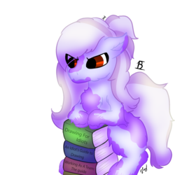 Size: 894x894 | Tagged: annoyed, artist:embroidered equations, artist:littlepony115, artist:poniesmine, books-a-million, cute, ear down, earth pony, female, fluffy, hair bun, leaning forward, mane, mare, oc, oc:aggie, oc only, pony, red eyes, safe, shading, solo, splotches, squatting, tail