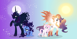 Size: 3945x2012 | Tagged: safe, artist:velveagicsentryyt, princess celestia, princess luna, oc, oc:king cosmos, oc:queen galaxia, alicorn, pony, 's parents, alicorn oc, celestia and luna's father, celestia and luna's mother, cewestia, family, father and daughter, female, filly, horn, male, mare, moon, mother and daughter, pink-mane celestia, previous generation, s1 luna, stallion, sun, woona, young luna, younger