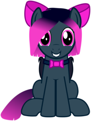 Size: 1595x2120 | Tagged: safe, artist:guardian talon, oc, oc only, oc:sparkbat, bat pony, pony, 2020 community collab, derpibooru community collaboration, bow, bowtie, fangs, female, hair bow, mare, simple background, sitting, solo, transparent background
