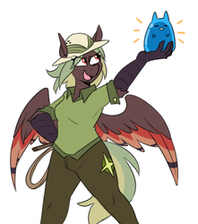 Size: 773x873 | Tagged: safe, artist:redxbacon, oc, oc:terracotta, anthro, hippogriff, clothes, costume, female, gummy bear, hat, pith helmet, solo, talons