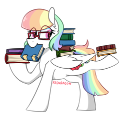 Size: 582x547 | Tagged: artist:redxbacon, book, glasses, mouth hold, oc, oc:book worm, pegasus, pony, safe, solo